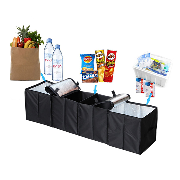 Foldable 4-Compartment Car Trunk Organizer with Cooling bag