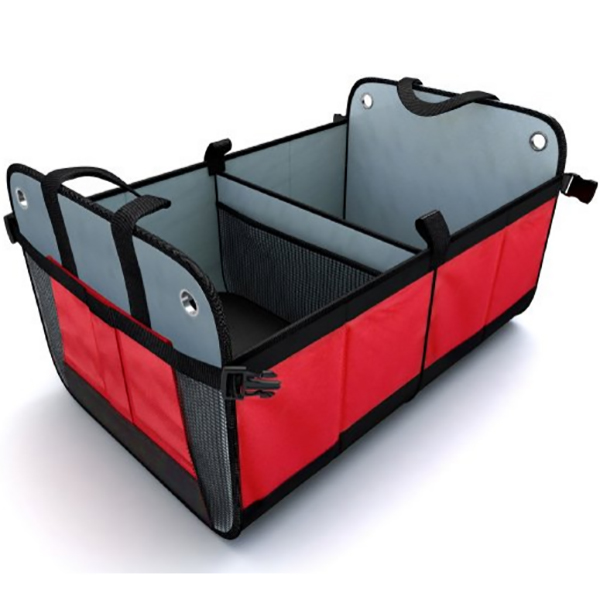 2-compartments collapsible car trunk organizer
