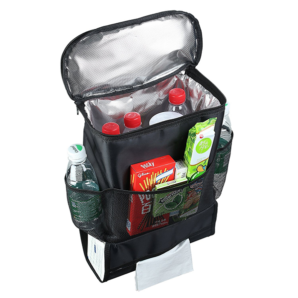 Multi-Pocket Insulated Car Seat Back Drinks Holder Cooler Travel Storage Bag