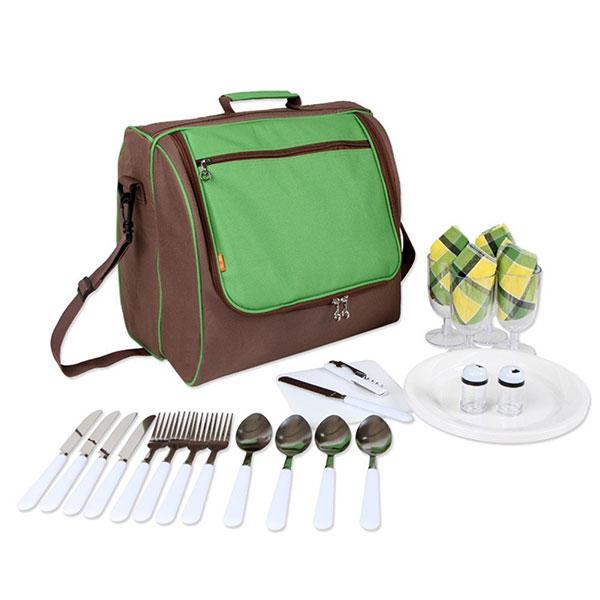 elpb013 shoulder picnic bag for 4 person with cooler compartment. Black Bedroom Furniture Sets. Home Design Ideas