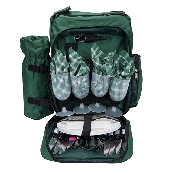 4 Person Picnic Backpack With Cooler Compartment-1
