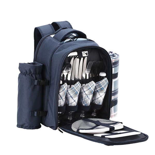 4 Person Blue Tartan Picnic Backpack With Blan