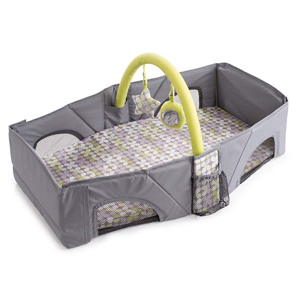 Upgraded foldable baby travel bag with removable fun toy bar hole