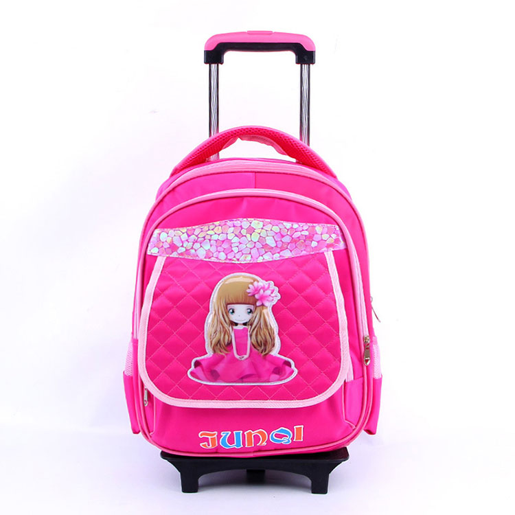 Factory Custom Detachable Kids Rolling Wheels Unisex School Trolley Bag